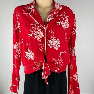 Gorgeous Floral Cotton On Tie Front Blouse -Size M